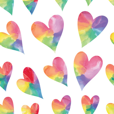 Rainbow hearts. Watercolor hearts seamless pattern. Vector illustration