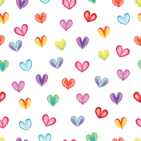 Watercolor hearts seamless pattern. Vector illustration Vector