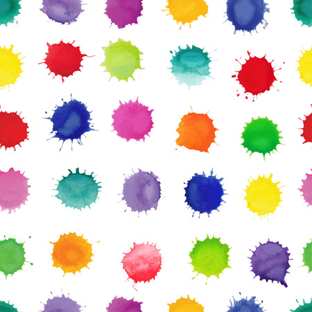 fills: Watercolor vector seamless pattern. Colorful watercolor splashes isolated on white background. Seamless pattern can be used for wallpaper, pattern fills, web page background,surface textures.