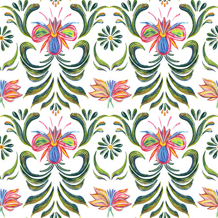 ukrainian: Abstract elegance seamless pattern with floral background. Hand drawn illustration in Ukrainian folk style. Ukrainian folk art. Ukrainian national motives.