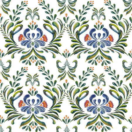 Abstract elegance seamless pattern with floral background. Hand drawn illustration with flowers in vintage style. Vector