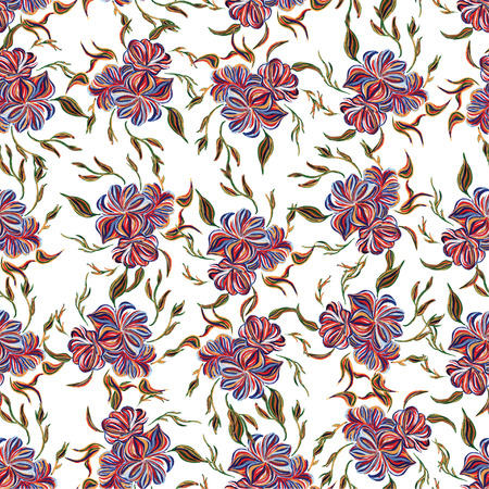 Abstract elegance seamless pattern with floral background. Hand drawn illustration in Ukrainian folk style. Ukrainian folk art. Ukrainian national motives. Vector