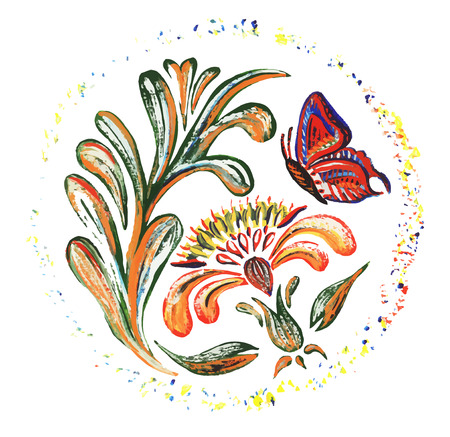 Ukrainian national motives. Vector illustrations. Hand drawn illustration in Ukrainian folk style. Vector