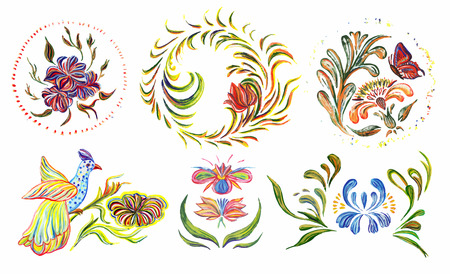 Ukrainian folk art. Ukrainian national motives. Vector illustrations. Hand drawn illustration in Ukrainian folk style. Vector