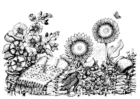 Ukrainian folk art. Traditional Ukrainian fence with sunflowers, hollyhock. Ukrainian national motives. Vector illustrations of ukrainian Vector