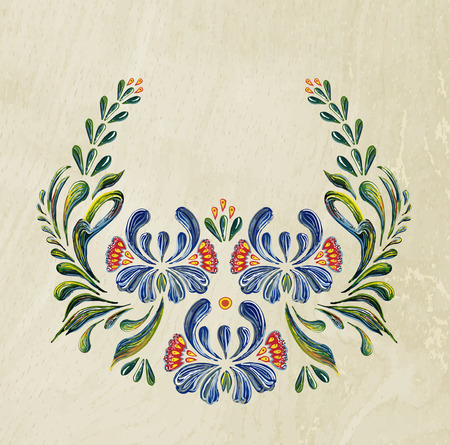 Hand Drawn vintage floral ornament. Illustration in folk style. Beautiful vector border with flowers in vintage style. Wood background. Vector floral background. Vector