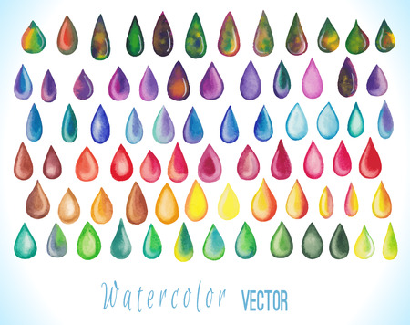 Colorful rainbow drops. Set of abstract hand drawn watercolor drops isolated on white background. Vector illustration