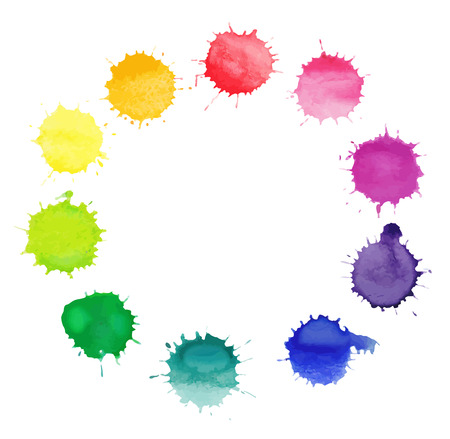 Vector round frame made of watercolor rainbow blobs, colorful paint drops texture. Colorful watercolor splashes isolated on white background Vector