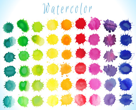 color drops: Colorful watercolor splashes isolated on white background.Vector illustration