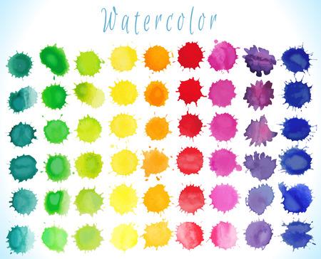 Kleurrijke aquarel spatten op wit wordt geïsoleerd achtergrond.Vectorillustratie Stockfoto - 38719619