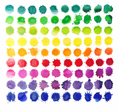 90 colorful watercolor splashes isolated on white background. Vector background made of watercolor rainbow blobs, colorful paint drops texture.