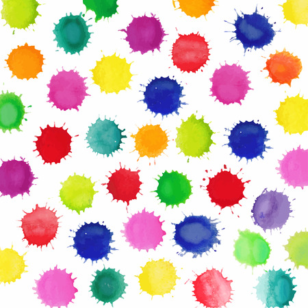 blobs: Colorful watercolor splashes isolated on white background. Vector background made of watercolor rainbow blobs, colorful paint drops texture.