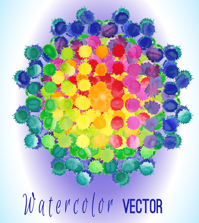 blobs: Vector watercolor circle with colorful rainbow blobs. Watercolor paint drops, splashes isolated on white background Illustration