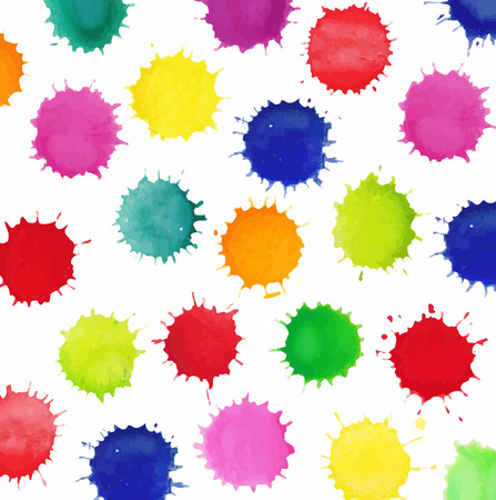 Colorful watercolor splashes isolated on white background. Vector background made of watercolor rainbow blobs, colorful paint drops texture.