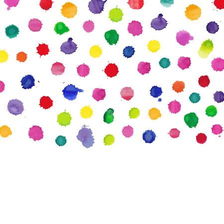 ink spill: Colorful watercolor splashes isolated on white background