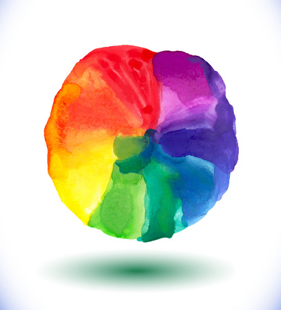 Abstract watercolor rainbow gradient background. Vector illustration. Beautiful watercolor circle.