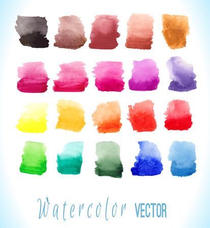 Abstract hand drawn watercolor blots set. Vector illustration. Beautiful watercolor elements for design. Watercolor backgrounds.