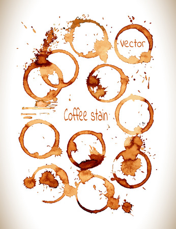 coffee spill: Coffee stain on a white background.Coffee cup rings isolated on a white background.Vector Illustration.