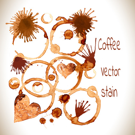Coffee paint stains, splashes and harts isolated on white background. Coffee cup marks on white background.Vector Illustration. Vector