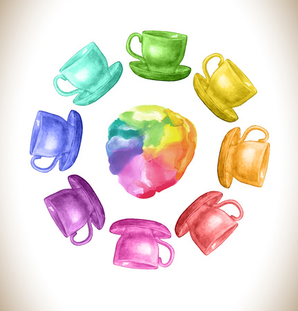 Watercolor rainbow vector frame with cups. Hand drawn illustration. Abstract watercolor rainbow gradient background. Vector