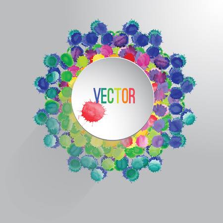 ornament frame: Vector watercolor circle with colorful rainbow blobs. Watercolor paint drops, splashes isolated on white background. Circle ornament frame . Hand drawn abstract background with space for text Illustration
