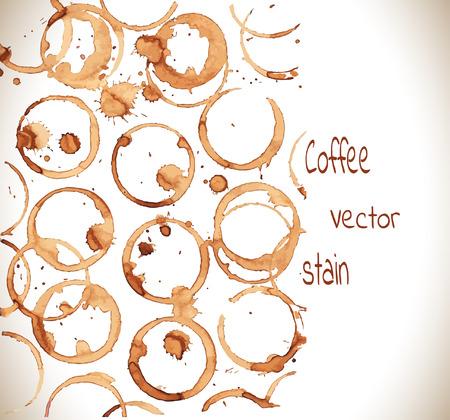 Mancha de café en una taza blanca background.Coffee marca en blanco background.Vector Ilustración.