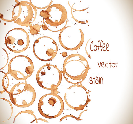 coffee stain: Coffee stain on a white background.Coffee cup marks on white background.Vector Illustration.