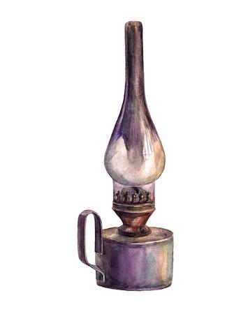 kerosene lamp: Watercolor kerosene lamp. Vintage lantern. Stock Photo