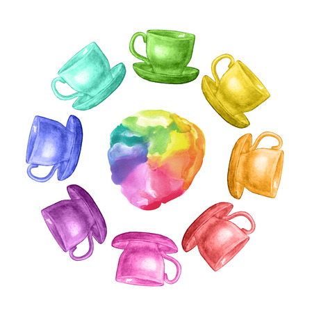 Watercolor rainbow  frame with cups. Hand drawn illustration. Abstract watercolor rainbow gradient background.