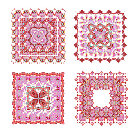 mehandi: Set of four hand drawn ethnic square ornaments Stock Photo