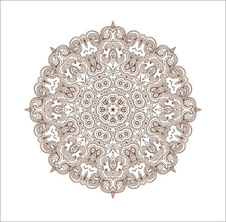 monochromatic: Monochromatic ethnic round ornamental vector shape isolated on white Illustration