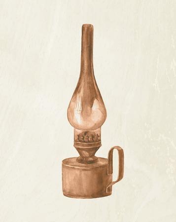 antiquities: Watercolor vector kerosene lamp. Vintage lantern. Illustration
