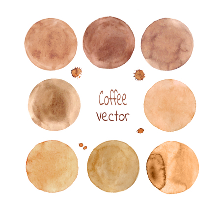blobs: Brown vector circles. Set of watercolor vector blobs, isolated on white background. Hand-painted isolated brown circles set.