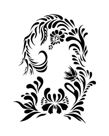ukrainian traditional: Vector black floral silhouette. Ethnic flower ornament. Ukrainian traditional style. Petrykivka art. Ukrainian folk art.