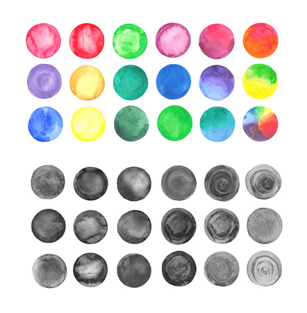 vector raster background: Set of watercolor vector black and colorful round shapes. Colorful watercolor paint design elements. Watercolor circles set isolated on white background