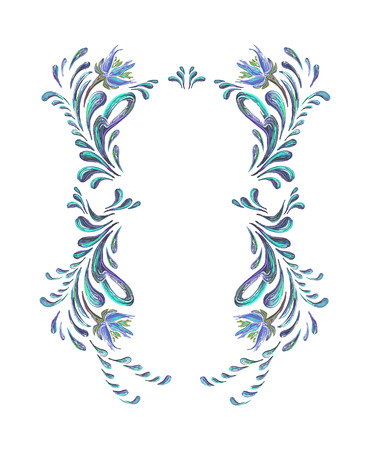 folkloric: Floral frame. Blue flowers in folkloric style. Vector illustrations. Hand drawn illustration. Illustration