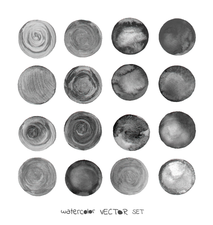 Set of watercolor black round shapes. Watercolour circle textures. Grey circles on white background. Grunge black watercolor painted circle backgrounds.