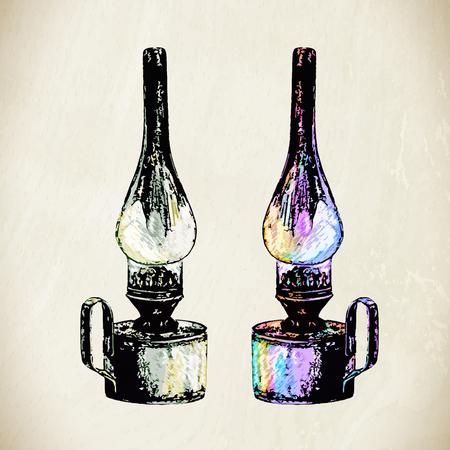 kerosene: Vector kerosene lamp. Vintage lantern in sketch style.