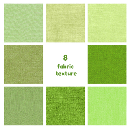 green clothes: Set of natural linen texture for the background. Green fabric texture for background. 8 Collage of green textures isolated over white.