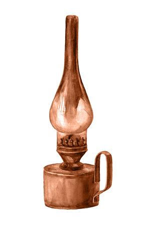 kerosene: Watercolor kerosene lamp. Vintage lantern. Stock Photo