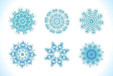 fractals: Set of vectors snowflakes. Snowflakes Christmas vector icons. Blue snowflakes, fractals or mandala