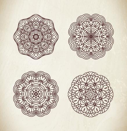 decorate: Mandala set. Round Ornament Pattern. Hand drawn background. Illustration