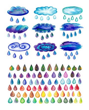rainwater: Watercolor painted rainy clouds and drops. Clouds with raindrops. Colorful rainbow drops. Set of abstract hand drawn watercolor drops isolated on white background Stock Photo