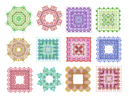 mehandi: Mandala. Hand drawn background. Set of hand drawn ethnic square and round ornaments