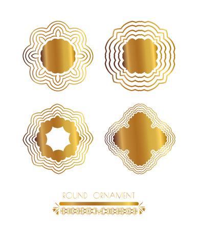 gold circle: Set of golden round frames. Ornamental gold circle frames. Vintage round pattern. Filigree vector frame. Ornate label for design and place for text.
