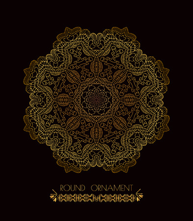 decorative element: Mandala golden art. Gold circular ornament on black background. Golden pattern