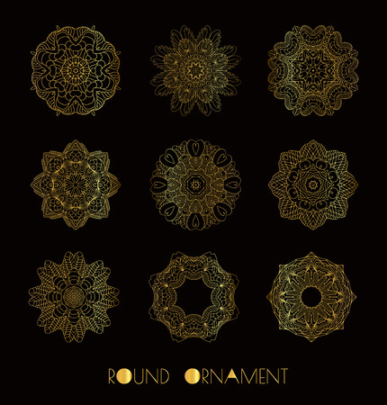 decorative design: Mandala golden set. Gold Circular ornament on black background. Set of the golden patterns