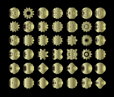 vintage ornament: Vector gold labels set. Golden labels collection. Golden metal badges