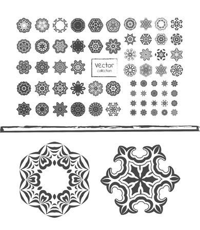 Geometric circular ornament set. Round symbols set. Set of Ethnic fractal mandala. Perfect set for  wedding, birthday, kaleidoscope, medallion. Illustration