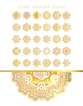 gold ornament: Traditional golden decor on white background.Oriental vector gold pattern. Abstract golden ornament. Vector illustration.